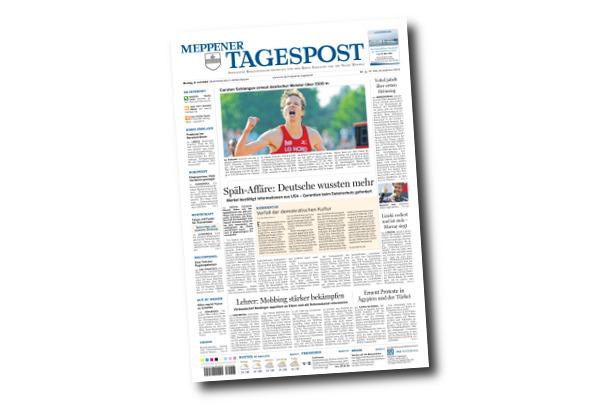 Carsten Schlangen wieder Deutscher Meister - Frontseite der Meppener Tagespost